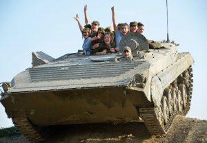 Tank driving and shooting